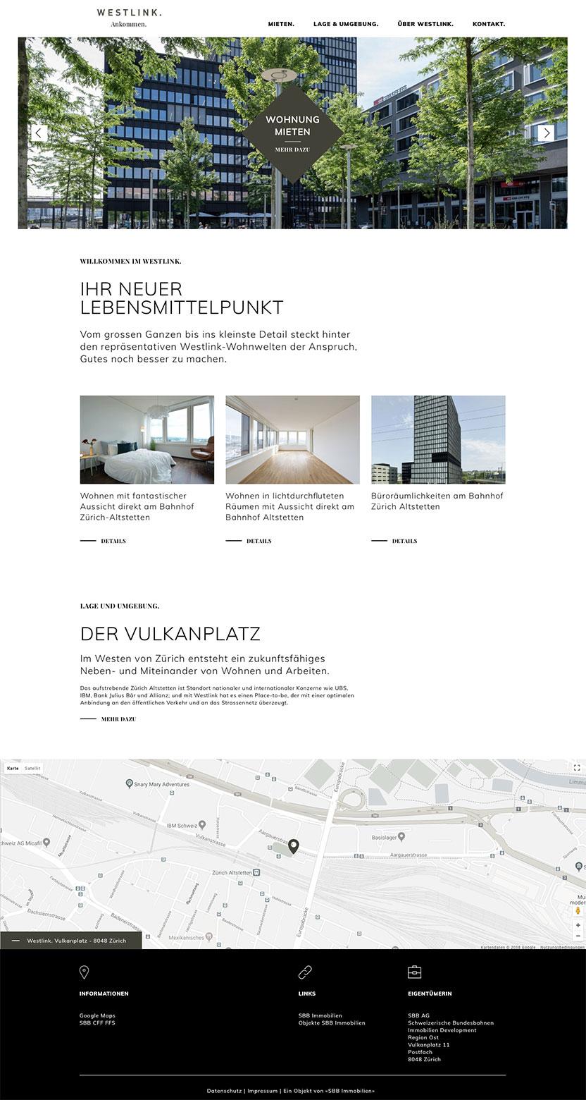 Webdesign Westlink SBB Immobilien– Digitalagentur – Gasser Miesch St. Gallen