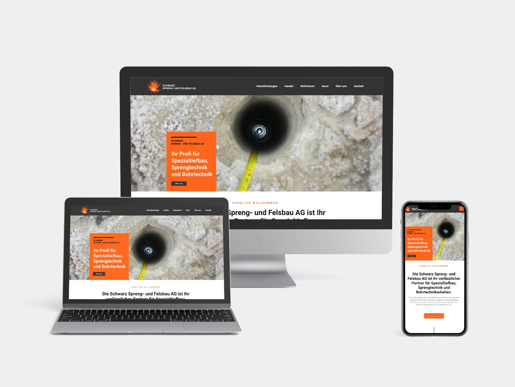 Schwarz-Sprengundfelsbau-Kommunikationsagentur – Webdesign – Gasser Miesch St. Gallen