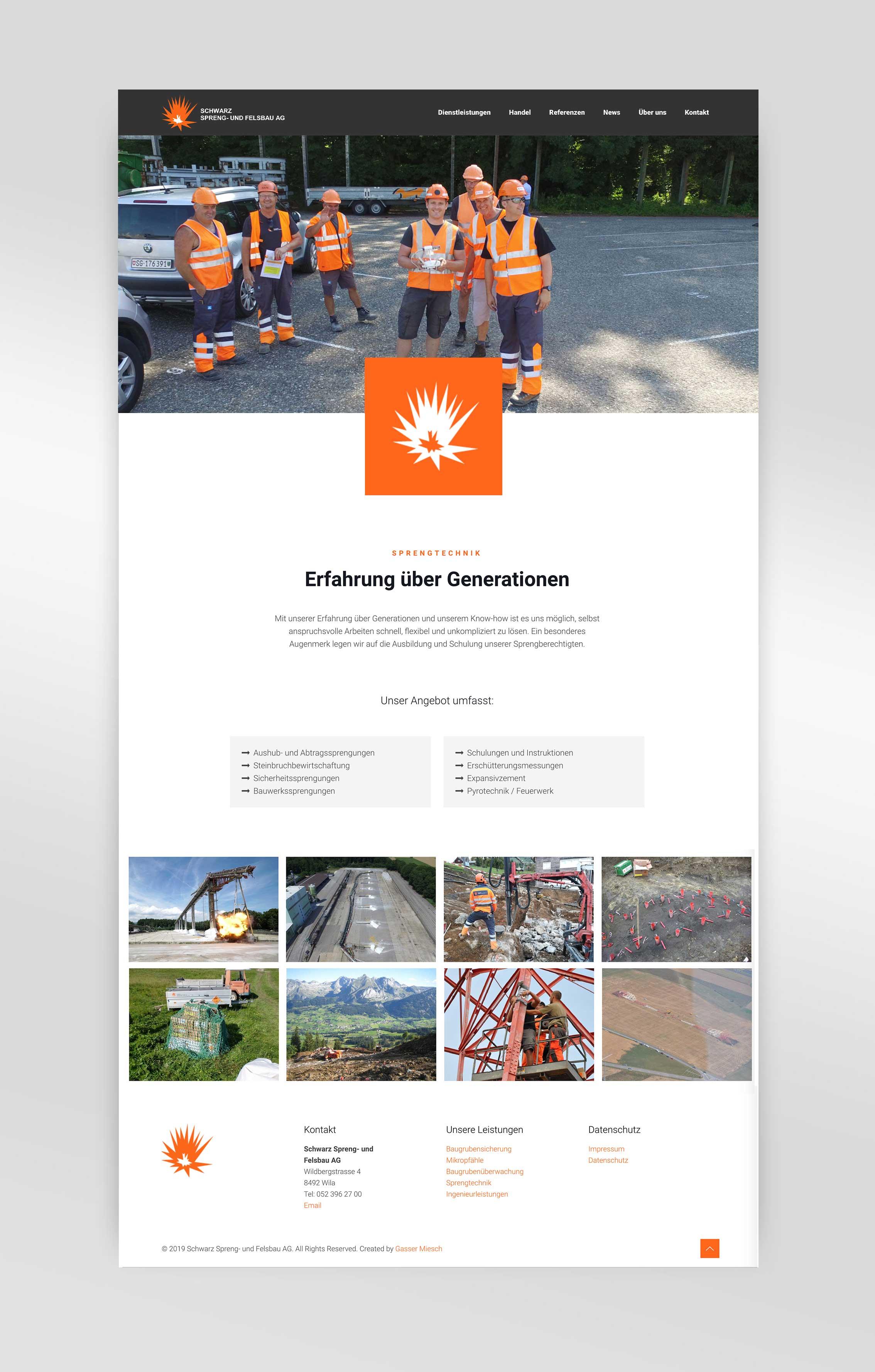 Schwarz-Sprengundfelsbau-Webagentur – Webdesign – Gasser Miesch St. Gallen